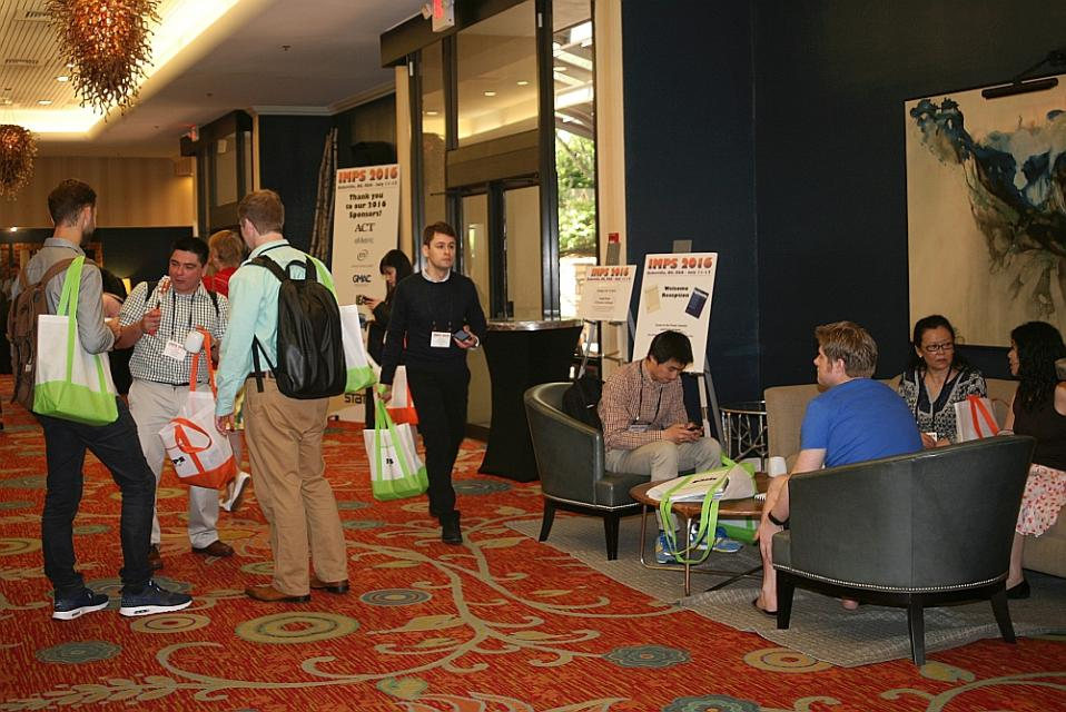 IMPS 2016 hotel lobby with attendees arriving