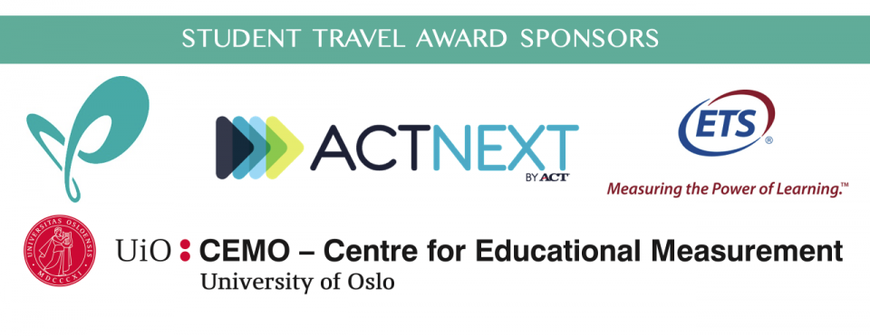 Student travel award sponsor logos - ACTNext, ETS, University of Oslo Centre for Educational Measurement