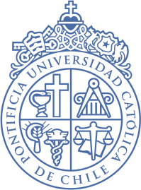 Logo of the Universidad Catolica Pontificia de Chile, assorted heraldry including Christian cross, asclepius, weighing balance, compass